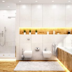 Klein Design Nyc Bathroom Renovation White Yellow Led