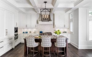 Transitional Kitchen with Patterned Stools
